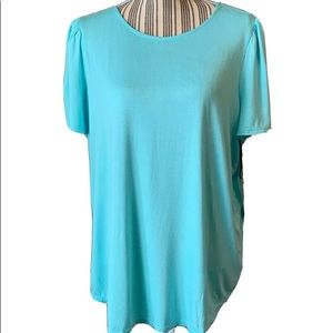 🍋Gibson Women Top NWT Turquoise Short Sleeve